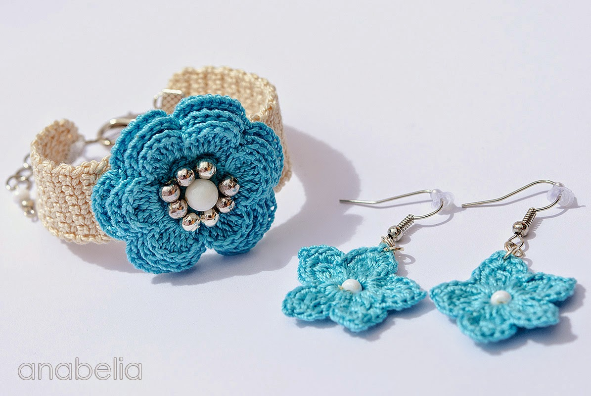 Anabelia craft design: Spring summer crochet bracelets and earrings sets