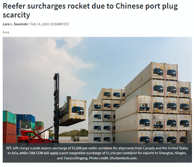 Reefer surcharges rocket due to Chinese port plug scarcity