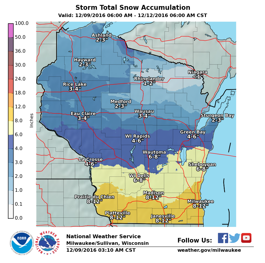here are the national weather service snow maps from yesterday and today note the retreat in snow totals