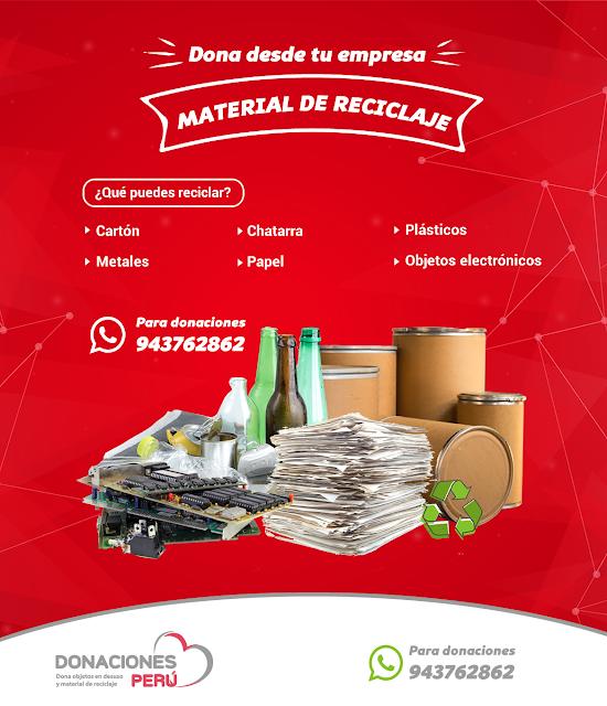 Dona desde tu empresa material de reciclaje