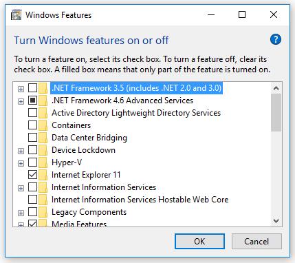 Mengatasi Gagal Install Net Framework 3.5 windows 10