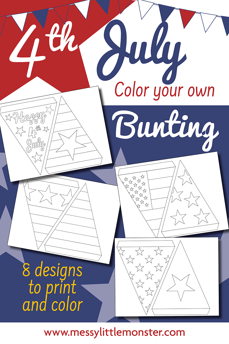 Fourth of July crafts for kids. Making bunting is an easy 4th of July decoration idea. Bunting template included.