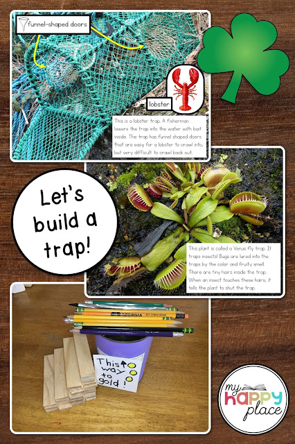 Photos of a lobster trap, a venus fly trap, and a student-made leprechaun trap