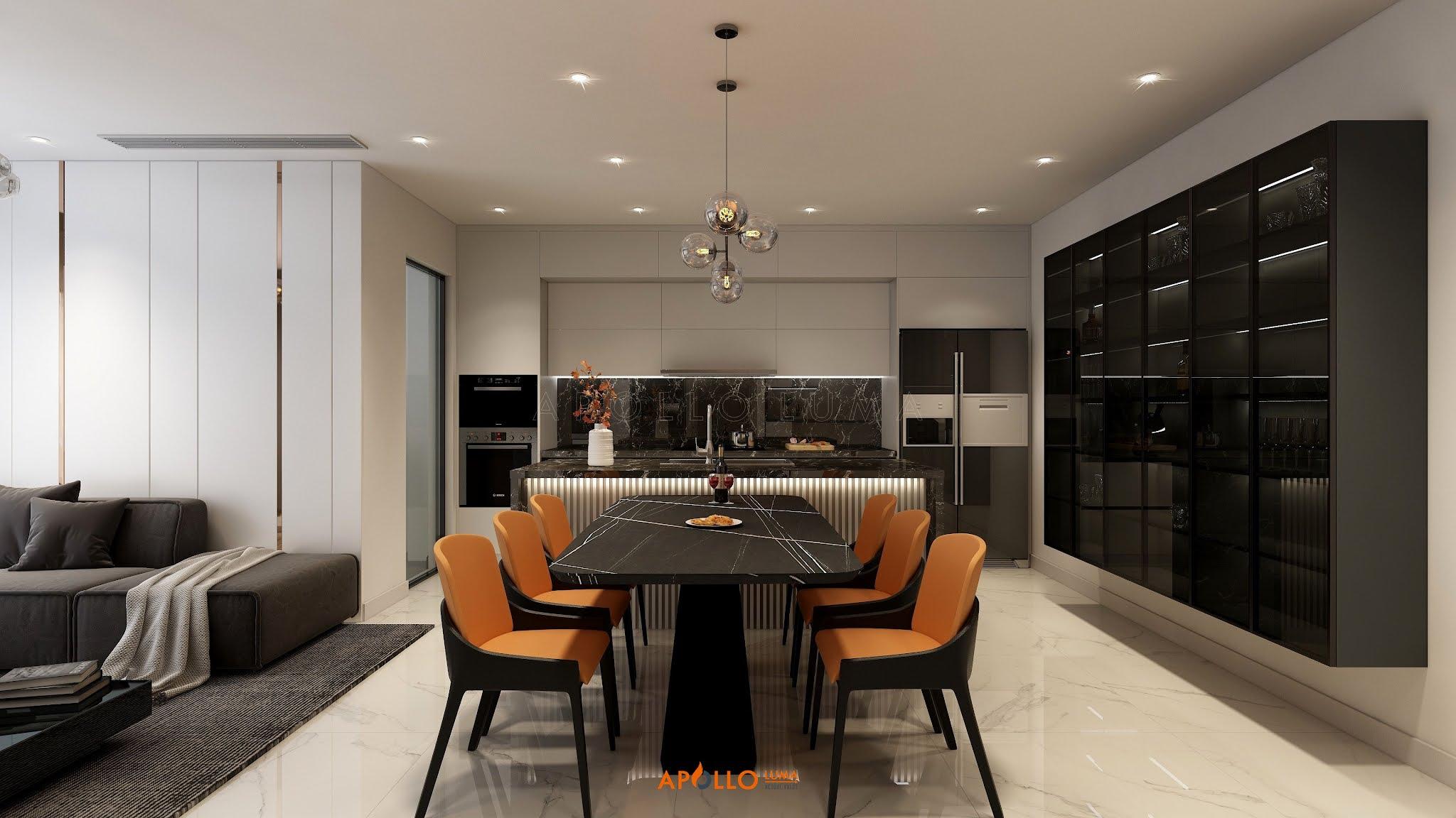 Thiết kế phòng bếp sang trọng căn hộ The Matrix One