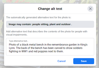 Screenshot of the Change alt text window. It shows the auto generated alt text at the top (which is rubbish) and then my alt text at the bottom which explains that the photo is a memorial bench with a carved soldier and a poppy in the back rest.