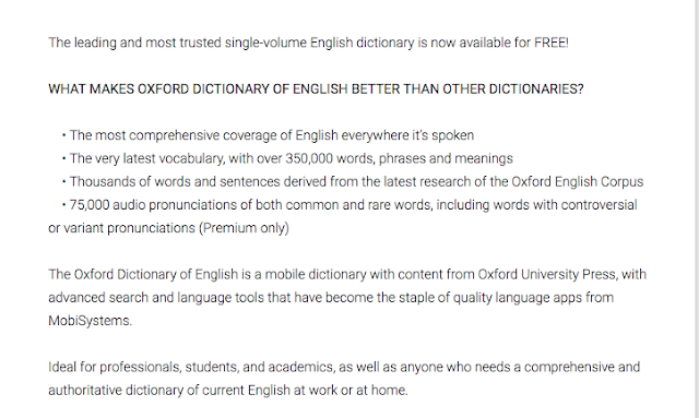 Features of Oxford English Dictionary