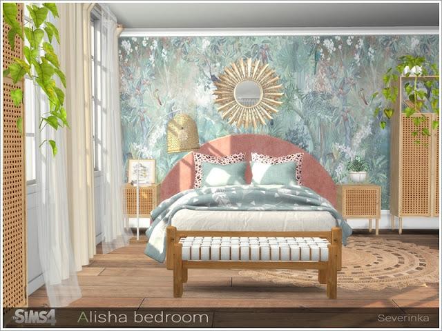бохо для The Sims 4 , интерьер в стиле бохо для The Sims 4 , стиль бохо в интерьере, бохо для The Sims 4 , интерьер для The Sims 4, спальня в стиле бохо для The Sims 4, гостиная в стиле бохо для The Sims 4, столовая в стиле бохо для The Sims 4, кабинет в стиле бохо для The Sims 4, дом в стиле бохо для The Sims 4, веранда в стиле бохо для The Sims 4, дворик в стиле бохо для The Sims 4, комната в стиле бохо для The Sims 4, мебель в стиле бохо для The Sims 4, декор в стиле бохо для The Sims 4, Alisha bedroom (part I) Спальня Алиши (часть I) для The Sims 4 Набор мебели и декора для дизайна спальни в стиле ScandiBoho Набор включает в себя 11 предметов: - двуспальная кровать - одеяло с двуспальной кроватью - подушки с двуспальной кроватью - кровать с двуспальной кроватью - столик - высокий стол - шкаф - пуф - пуф - занавес - напольный ротанг - зеркало Автор: Severinka_