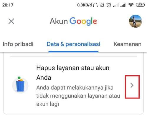 menu untuk menghapus akun google atau layanan google