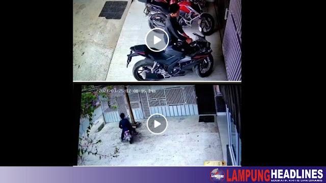 """Ngeri!!! Maling Motor Beraksi """"Siang Bolong"""" & Wajah Terekam CCTV"""