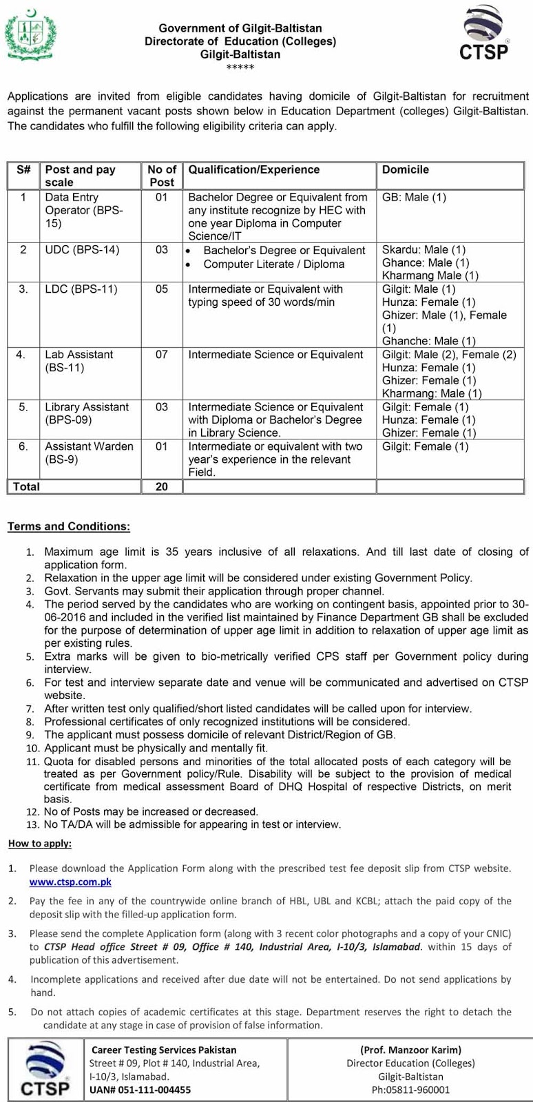CTSP Jobs in Directorate Of Education Gilgit Baltistan 2020