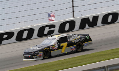 Justin Allgaier (second) posted his first top-10 finish in two races at Pocono Raceway. #NASCAR