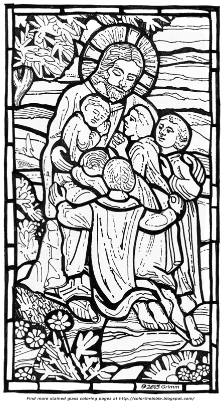 stained glass coloring pages for kids - jesus and the children in a stained glass coloring page