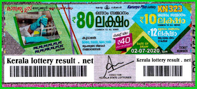 Kerala Lottery Result 02.07.2020  Karunya Plus KN - 323  Lottery Result Today