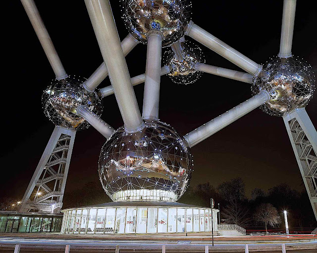 a partial view of the Brussels Atomium,  constructed for the 1958 World's Fair in Belgium