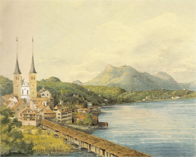 View of Lucerne – watercolour by Mendelssohn, 1847