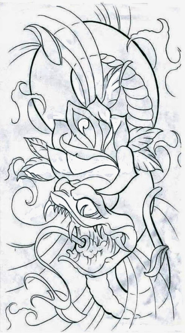 Snake with rose tattoo stencil