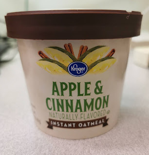 A closed cup of Kroger Apple & Cinnamon Instant Oatmeal
