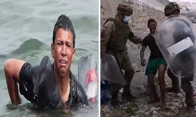 صورة اليوم : صبي مغربي يصل إلى إسبانيا سباحة بالاعتماد على قوارير بلاستيكية