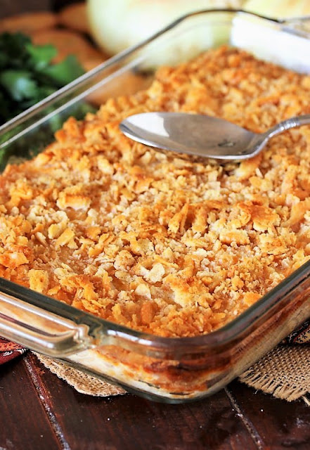 Vidalia Onion Casserole Cracker Crumb Topping Baked Golden Brown Image