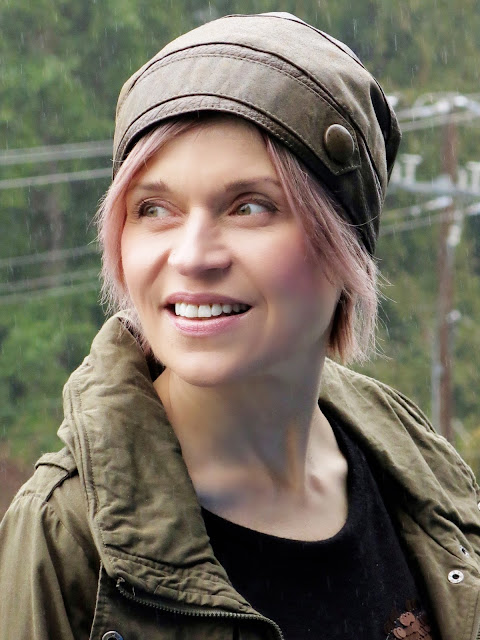army parka, leather beanie, and pink hair!