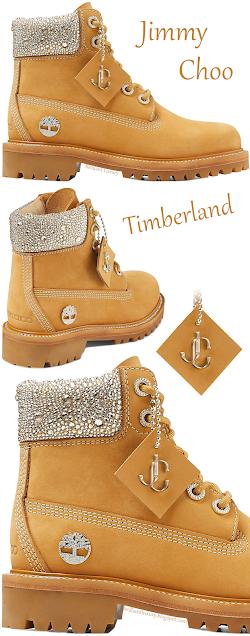 Jimmy Choo Timberland wheat nubuck leather boots with crystal collar #brilliantluxury