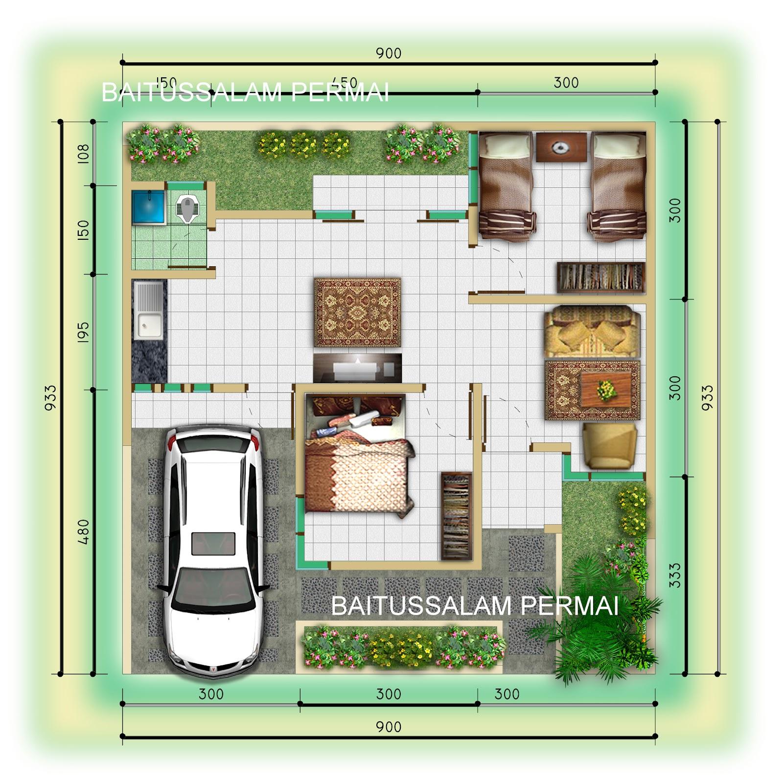Gambar Denah Rumah Lebar 8 Meter Panjang 12 Meter Sobhome