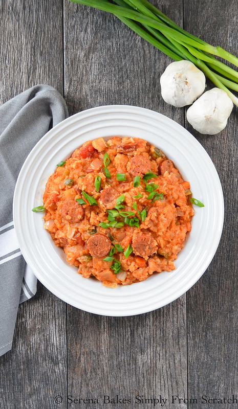 Crock Pot Chicken and Sausage Jambalaya is an easy to make fix it and forget it dinner. Serena Bakes Simply From Scratch