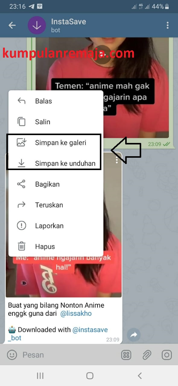 Cara Download Video Instagram Dengan Telegram Kumpulan Remaja