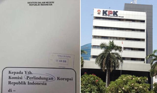 Tertulis Komisi Perlindungan Korupsi di Surat Mendagri