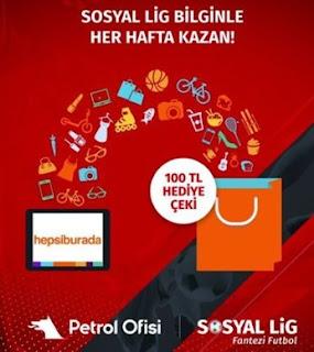 Sosyal Lig ile 100TL Hediye Çeki Kazan