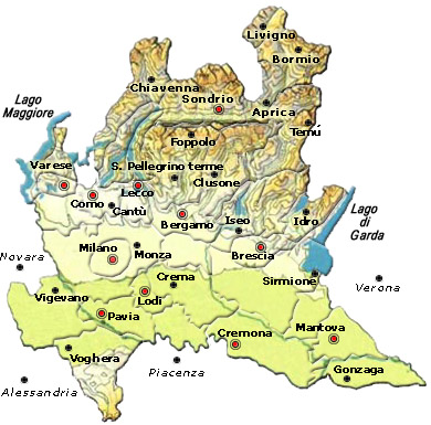Cartina Geografica Politica Della Lombardia.Mappa Della Citta Di Provincia Regionale Italia Cartina