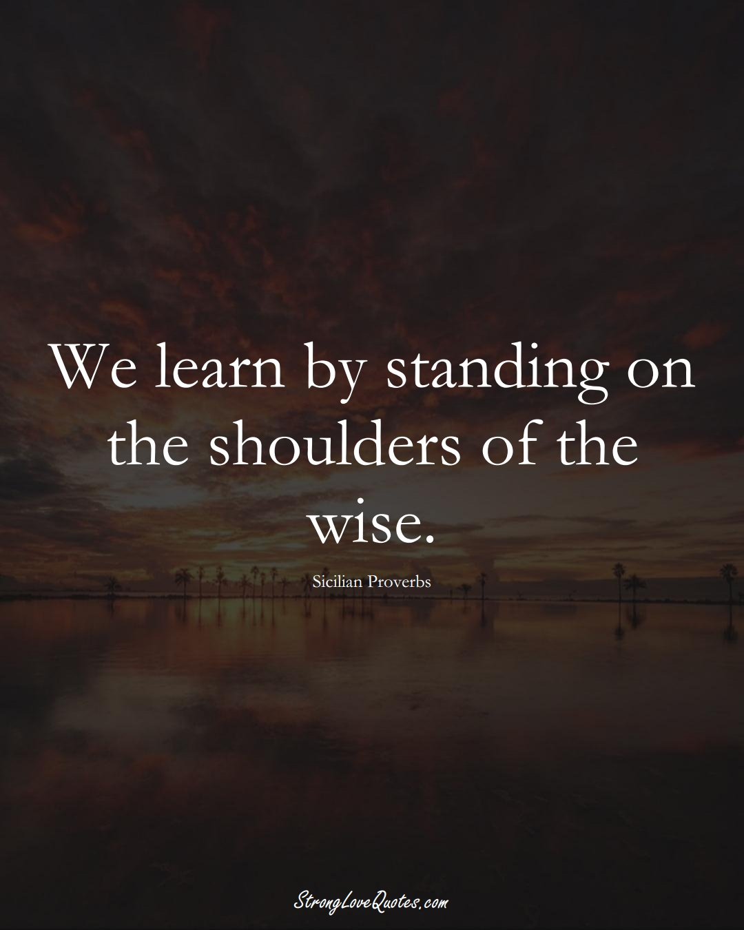 We learn by standing on the shoulders of the wise. (Sicilian Sayings);  #EuropeanSayings