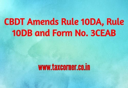 CBDT Amends Rule 10DA, Rule 10DB and Form No. 3CEAB