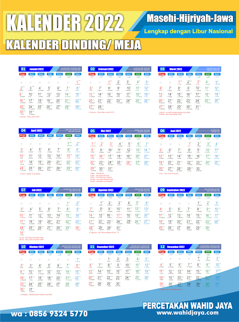 cetak kalender dinding 2022