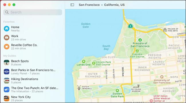 تطبيق macOS 11.0 Big Sur Maps