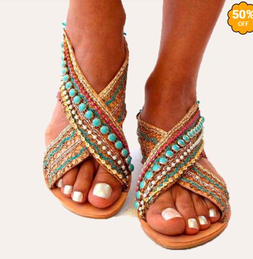 Flat bohemian sandals