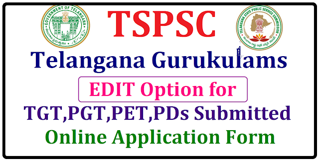 TS Gurukulam Application form correction 2017, Editing of TS Gurukulam Online Application TSPSC Gurukulam Teaching,Non teaching posts Recruitment 2017 TSPSC has released 7,306 Residential School/Gurukulam Teaching ,Non teaching posts Recruitment 2017 Notification on 13-04-2017 and applications were invited form the eligible and interested candidates through online mode from April 18th .TSPSC Gurukula Posts Recruitment notification has been released through the GO No 46. Telangana State Public Service Commission (TSPSC) has released the revised recruitment notifications for Teacher TGT/PGT/ART/MUSIC/CRAFT TEACHER,LIBRARIANS,STAFF NURSES,PHYSICAL DIRECTOR and Librarian posts in Residential Educational Institutions Societies. Online application submission process commenced from 18-05-2017 for recruitment to the above mentioned posts. Candidates ,only after ensuring their eligibility from the official notification released at the webportal of TSPSC had applied for their respective posts.Edit/Correct Your TS Gurukulam Application Form Online @tspsc.gov.in The candidates who had filled any incorrect information in their application form by mistake or the candidates those who want to cross check their information again regarding their filled up information can now officially enter the changes in their form in the official website i.e www.tspsc.gov.in Students can modify their application form untill they are satisfied of all the information from tomorrow that is 12-06-2017 and 13-06-2017/2017/05/ts-gurukulam-online-application-form-correction-edit-2017-tspsc.gov.in.html