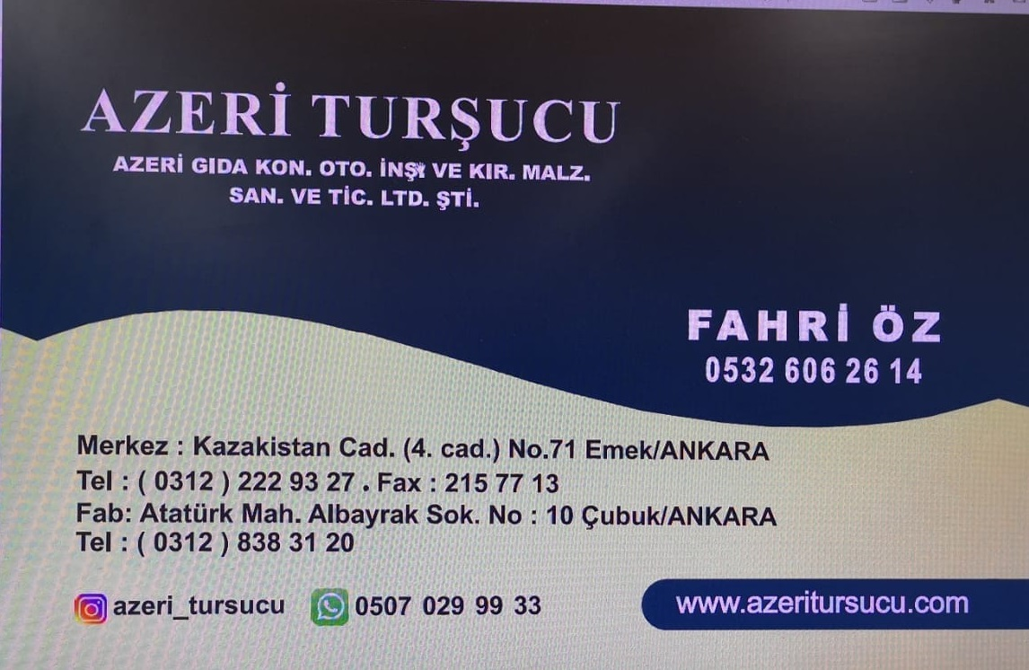 Çubuk Azeri Turşucu Sipariş Ver