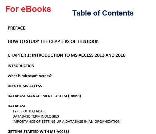 screenshot of ebook toc