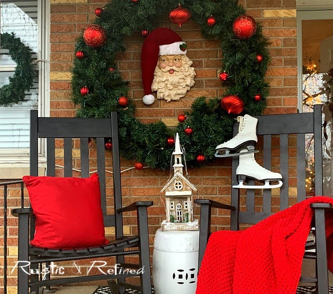 Christmas Decor on the front porch with budget decor hacks