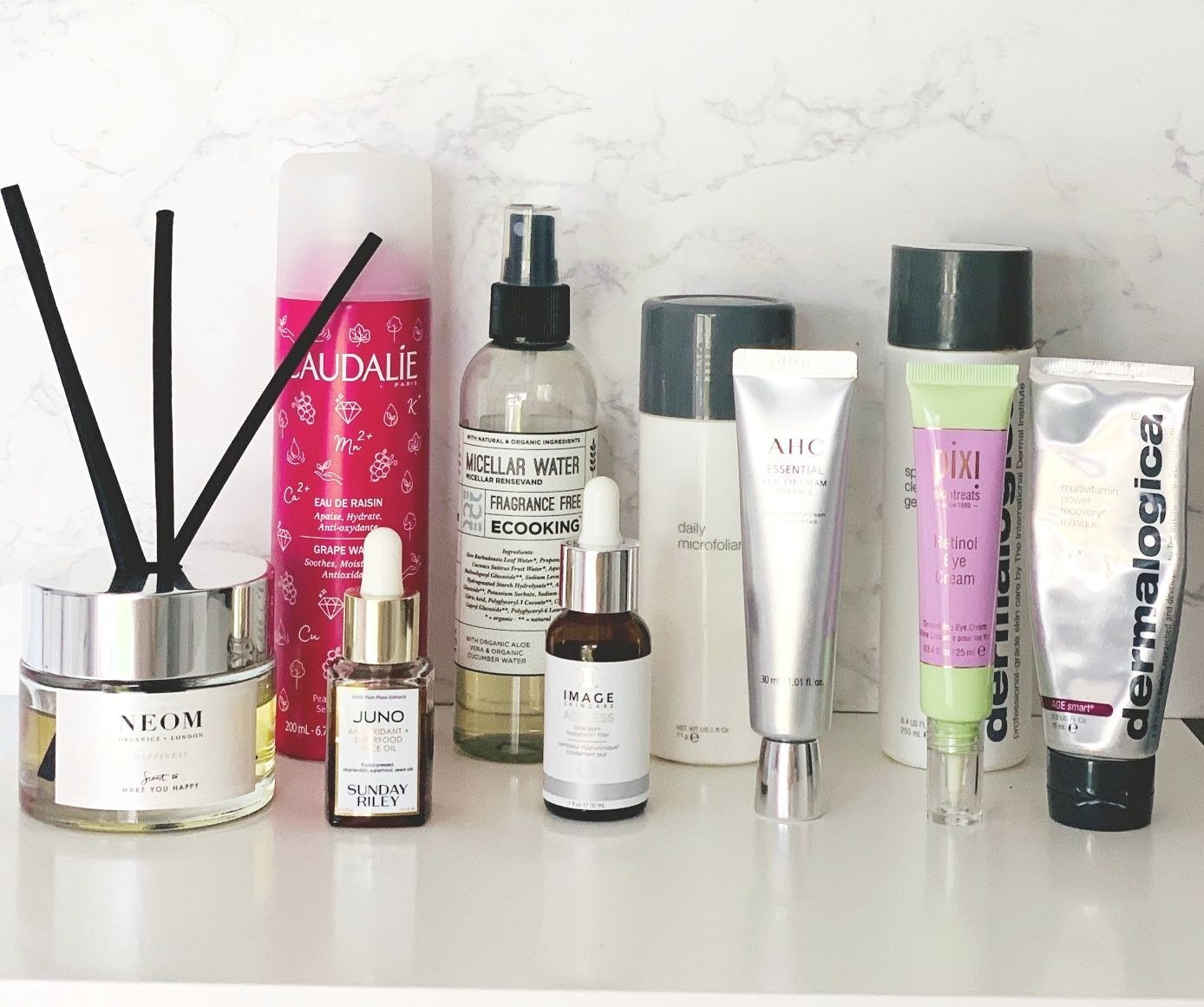 Weekly DIY Facial, Dermalogica Cleansing Gel, Dermalogica Daily Microfoliant, Dermalogica Power Recovery Masque, Caudalie Grape Water, Image Total Pure Hyaluronic Acid, AHC Hydrating Essential Real Eye Cream For Face, Sunday Riley CEO Glow Oil, Pixi Retinol Eye Cream