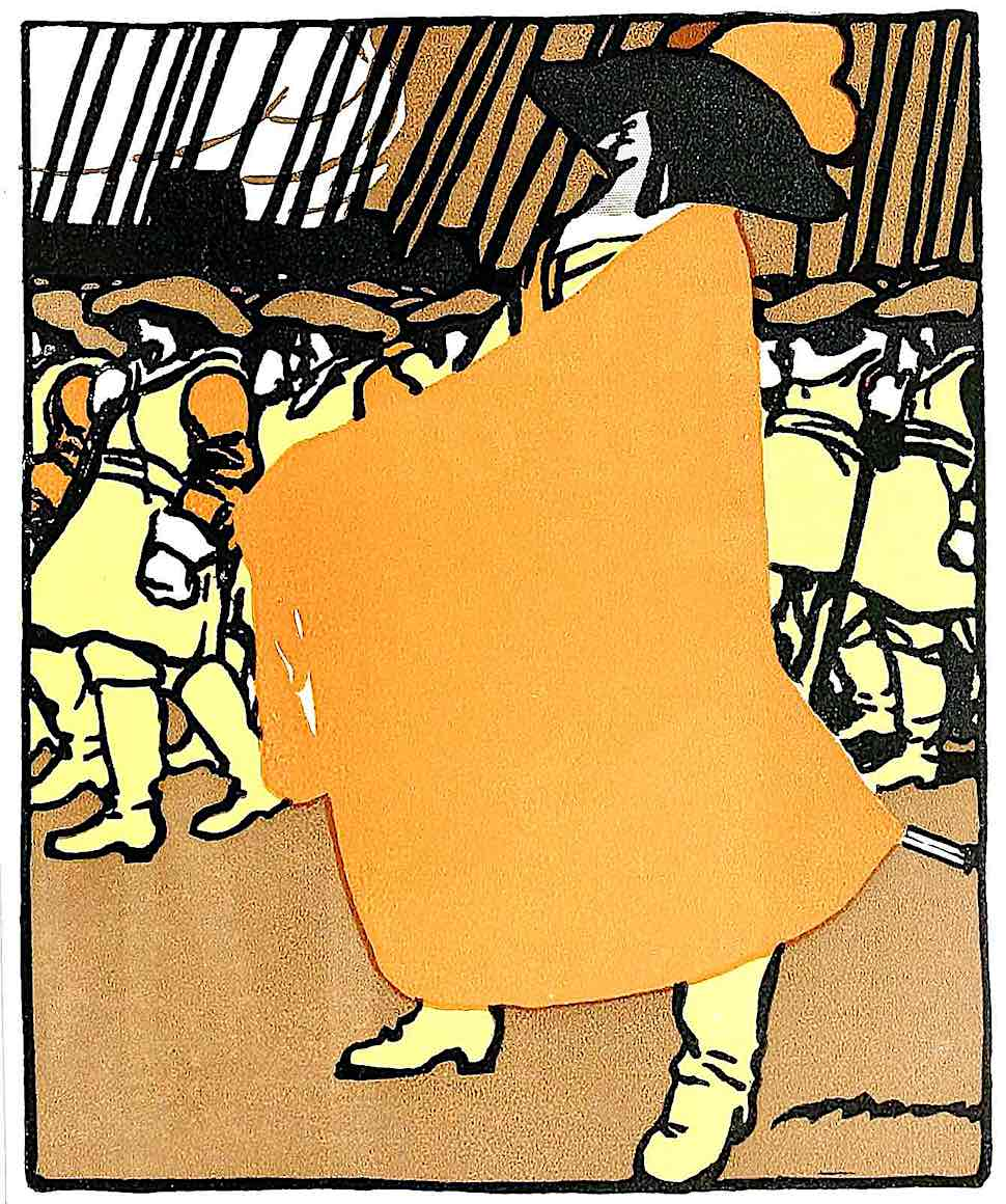 an old orange poster illustration by Marco, marching to war
