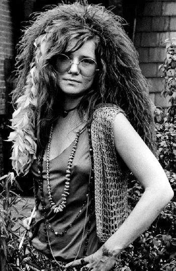 Foto de Janis Joplin con lentes redondos