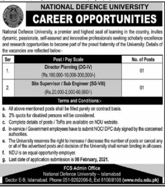 national-defence-university-islamabad-jobs-2021-advertisement
