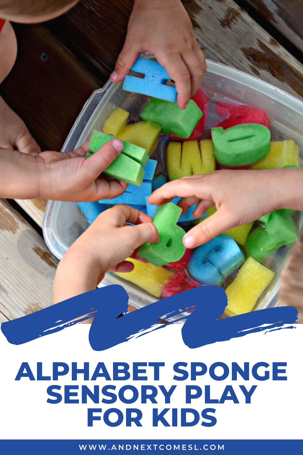 A fun sponge sensory play activity for toddlers and preschoolers using colorful letter sponges