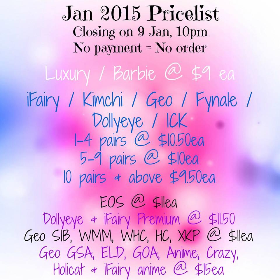 lust to lush January 2015 Pricelist
