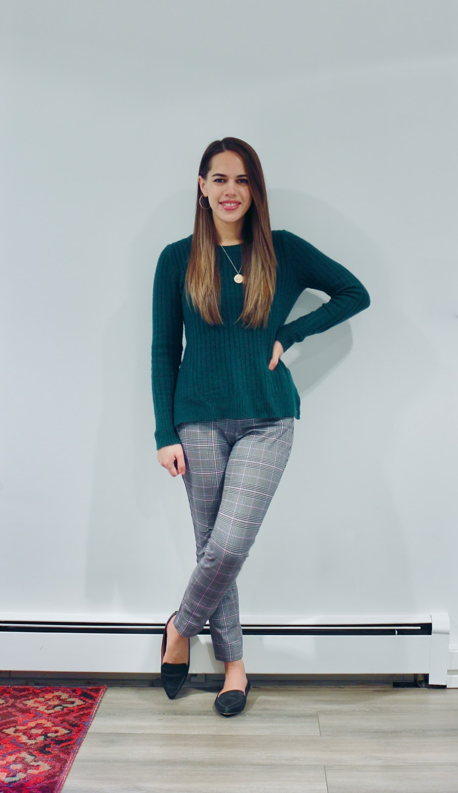 Jules in Flats - Green Sweater + Plaid Pants (Business Casual Winter Workwear on a Budget)
