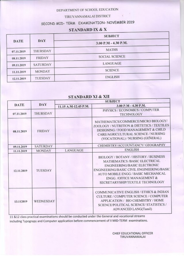 9 to 12th Std - Second Mid~Term Examination November 2019 - Schedule