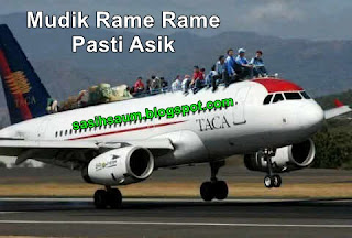 gambar mudik lucu naik pesawat