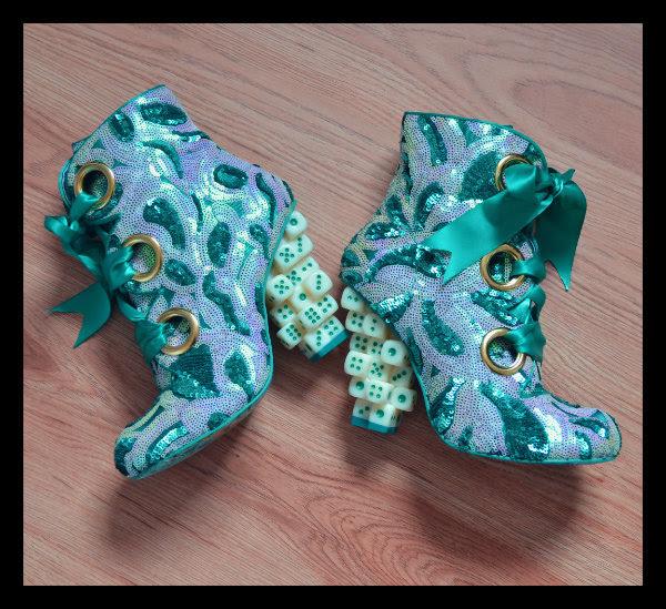 Irregular Choice Poker Joker sequins ankle boots on floor